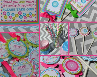 Sew Cute Button Birthday Party Decorations Fully Assembled