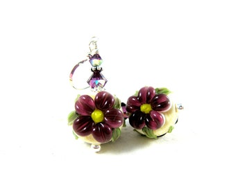 Purple Flower Earrings, Floral Earrings, Lampwork Earrings, Dark Purple Ivory Earrings, Spring Earrings, Glass Earrings - Purple Daisies