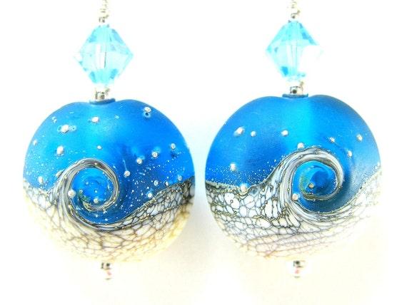 Blue White Ocean Earrings, Wave Lampwork Bead Earrings, Beach Earrings, Summer Earrings, Dangle Earrings - Tidal Wave
