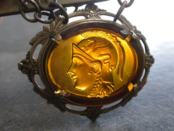 Cameo Necklace Neoclassical Athena Amber Glass