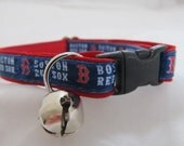 Boston Red Sox Cat  or Small Dog Collar with Option of Red, Pink or Green Backing