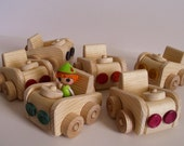Ready to ship, Wooden Toy Car Set of 6, Natural Wood Toy, Wooden Play Cars, Party Favor, Kids gift, Waldorf inspired, Jacobs Wooden Toys