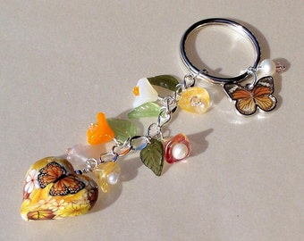 Butterfly and Flowers Key Chain/Purse Charm