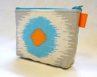 Ikat Fabric Gadget Pouch Cosmetic Bag Zipper Pouch Makeup Bag Cotton Zip Pouch Turquoise Gray Orange MTO