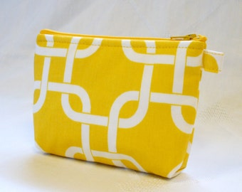 Bridesmaid Gift Fabric Cosmetic Bag Square Knot Gotcha Cosmetic Bag Zipper Pouch Makeup Bag Cotton Zip Gadget Pouch Corn Yellow White MTO
