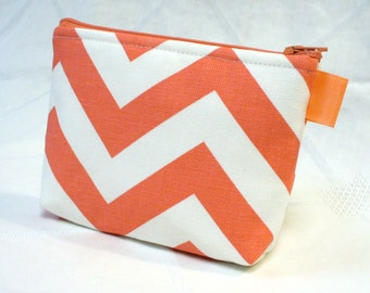 Bridesmaid Cosmetic Bag Fabric Gadget Pouch Chevron Zig Zag Zipper Pouch Makeup Bag Cotton Zip Pouch Coral White MTO