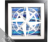 nautical compass shadowbox- made from recycled magazines, nautical, sea, ocean, blue, water