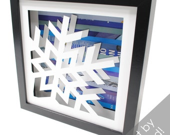 snowflake shadowbox- made from recycled magazines, winter, holidays, christmas, snow, cold, blue