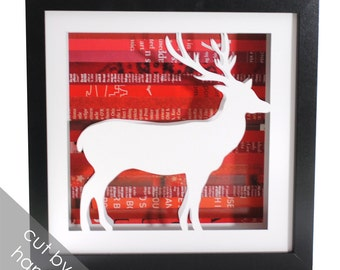 reindeer shadowbox- made from recycled magazines, holiday decor, deer, frame, art, mantle decoration, interior design, modern decor, unique