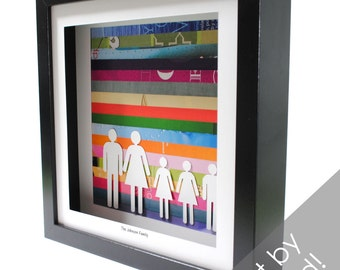 Custom Family Portrait- shadowbox made from recycled magazines, family, kids, parents, custom, personalized