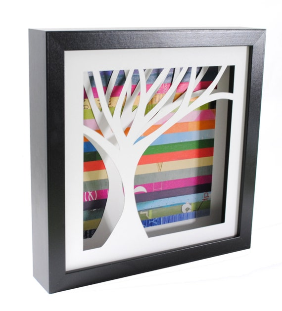 tree shadowbox- on the left- made from recycled magazines, handcut, colorful, you choose your background color