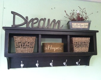 Cubby Wall Shelf Country Shelf for Baskets Bath Or Entryway W Hooks Primtive Distressed Black