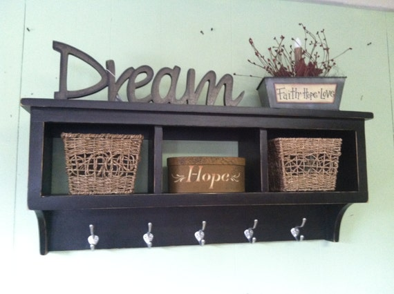cubby wall shelf country shelf for baskets bath or entryway w. Black Bedroom Furniture Sets. Home Design Ideas