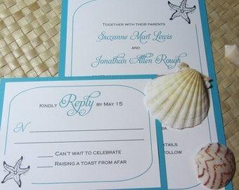 Beach Wedding Invitation, Starfish Invitation, Shell Wedding Invitation, Destination Wedding Invitation