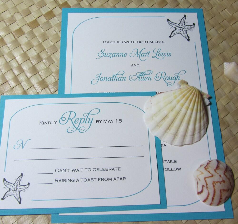Destination Wedding Gift Wording : Beach Wedding Invitation Starfish Invitation Shell Wedding
