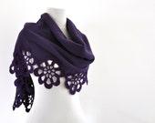 Fleece Scarf Shawl Wedding Shawl Bridal Scarf Wrap Stole with Crocheted Flower Motifs Purple Lavender Amethyst Bridal Accessories