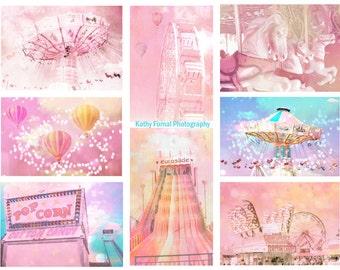 Baby Girl Nursery Decor, Carnival Wall Art Prints, Pink Baby Girl Carnival Prints, Pink Aqua Carnival Art, Carnival Fair Nursery Room Prints