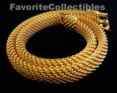 Unique Goldette Signed Choker Necklace Gold Mesh Vintage 1950s Designer from FavoriteCollectibles