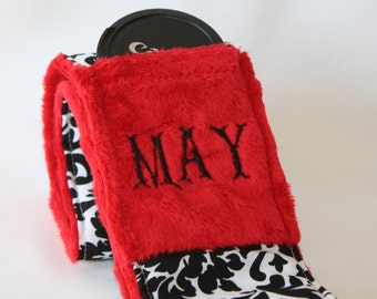 Monogramming included Wide Camera Strap for DSL camera White and Black Dammask with Red  minky reverse and lens cap pocket
