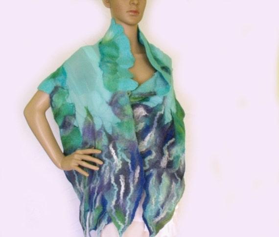 Nuno felt scarf. Shawl stole. Wool and polyester chiffon. Teal turquoise blue. Spring Shawl