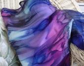 Large Scarf, Silk, Women, Hand Dyed, Mountain Glory Silk Scarf, Blue Nuit Seafoam Pink Dark Blue