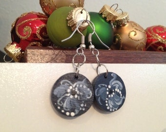 Norwegian rosemaled dangle earrings