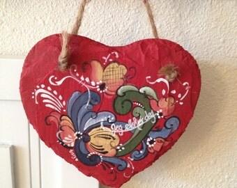 Norwegian rosemaled heart slate