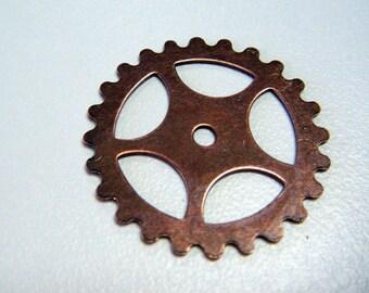 12 Copper Gear Steampunk Finding Antiqued Copper T224A