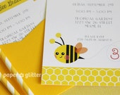 Bee Bumble Bee Party Invitation for birthday or baby shower, Invite or Thank You Card Printable PDF
