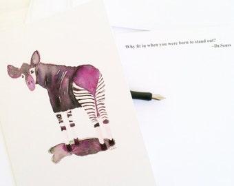 Okapi Watercolor Cards(3) animal illustration