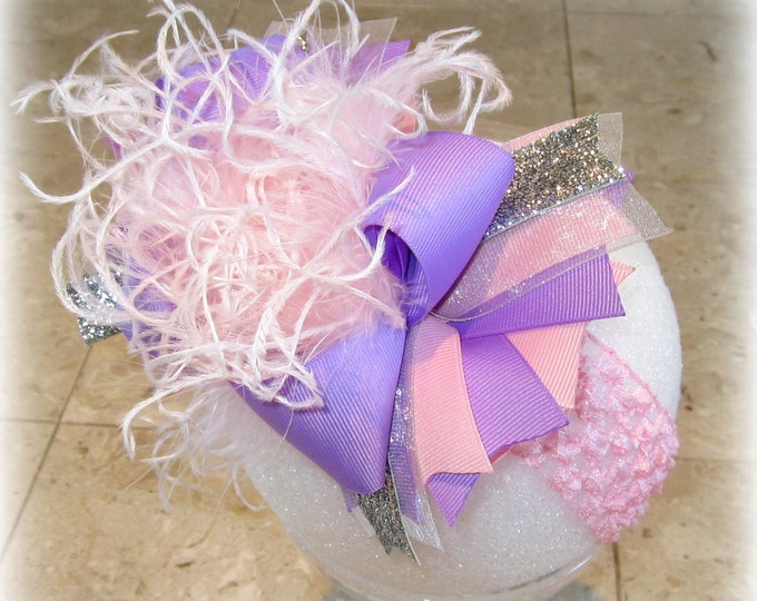 Over the Top Hairbow, Lavender OTT Bow, Pink Over the Top Bow, Baby Headband, Girls headband, Pink Bows, Ostrich Feathers, Large Pageant Bow