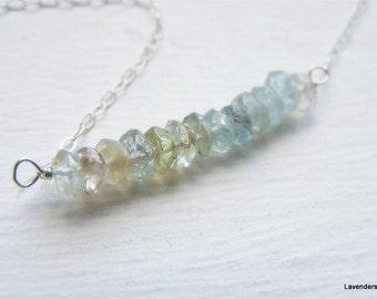 Aquamarine Bar  Necklace ,  March Birthstone Necklace , Aquamarine  Necklace