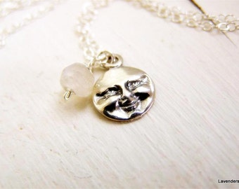 Full Moon Necklace ,  Silver Necklace , Rainbow  Moonstone bead necklace , Smiling Man Charm , Luna Necklace