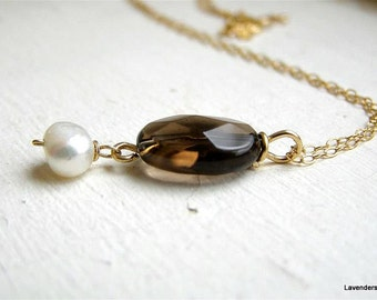 Smoky Quartz Necklace with Fresh Water Pearl , Gold Fill , Gemstone Gold Necklace