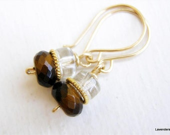 Gemstone Earrings , Gold Earrings , Rutilated Quartz and Tiger Eye , Gold Fill , Stone Dangle  Earrings