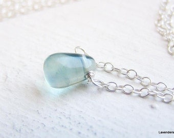 Fluorite  Necklace ,Tiny  Pale Green Fluorite  Drop Necklace , Sterling Silver , Modern , Simple  Everyday Jewelry