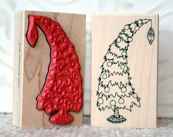 Heavy Holiday Christmas tree rubber stamp from oldislandstamps