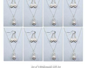 Set of 10 Bridesmaid Gift,  Swarovski White Pearl Necklace and Earring Set, Bridesmaid Gift Set of 10, Bridal Party Gift Jewelry Set of 10