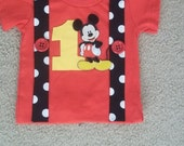 Boys Mouse Birthday Shirt in Red
