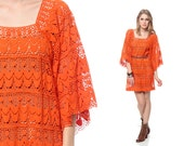CROCHET Mini Dress 70s Boho Lace SHEER Hippie Bell Angel Sleeve Orange 1970s Tunic Tent Bohemian Cut Out Bright Extra Small Medium Large - ShopExile