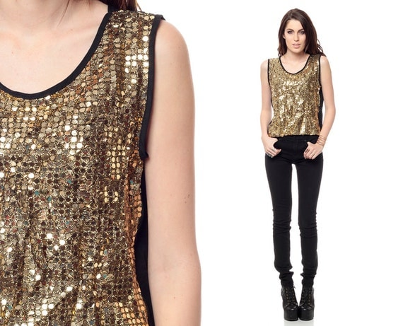 Gold SEQUIN Top 80s Metallic Blouse 1980s Sequined Sleeveless