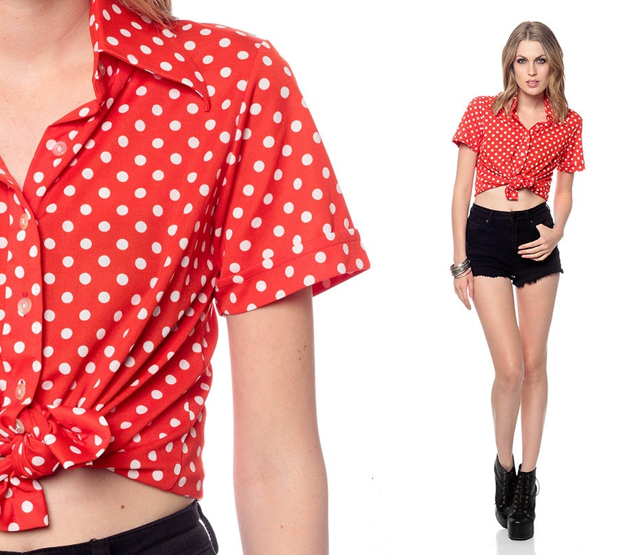 Red polka dot blouse 70s button up crop top secretary shirt for White red polka dot shirt