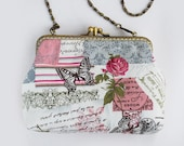 English Rose and Butterfly Double Pocket Cosmetic Bag (Cosmetic Case, Makeup Pouch, Travel Bag, Cotton Fabric, Metal Frame)