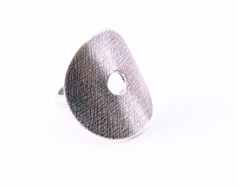 "Modern silver ring handmade with a round textured silver circle formed around a comfy half round band - made to order size - ""Ona Ring"""