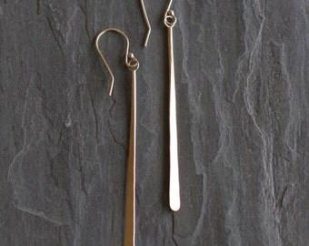 "Long gold dangle earrings handmade of solid 14K yellow gold hammered into an organic whimsical stem-like design - ""Gold Stems Earrings"""