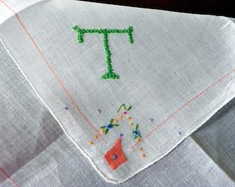 "Vintage  White Linen Hanky/Handkerchief  Embroidered ""T""  Monogram Green . Embroidered Corner"