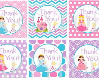 "Digital Princess Party Thank You Tag 2"" circles  Princess Birthday Party Decoration  Printable INSTANT DOWNLOAD"