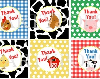 """Digital  Farm Party, Thank You, Favor Tag,  2"""" circles,   Farm Birthday Party Decoration,  Barnyard Party Printable, INSTANT DOWNLOAD"""