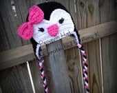 Baby Girl Penguin Hat, Baby Girl, Baby Girl Hats, Black and hot pink, Crochet baby hats