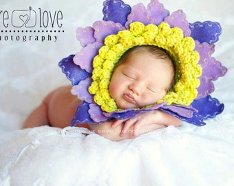 Photo Prop Flower Hat, Baby Girl Hats, Daisy Hat, Flower Pot Hat, Photo Prop, Photography Prop, Crochet Baby Hats, Baby Flower Hat